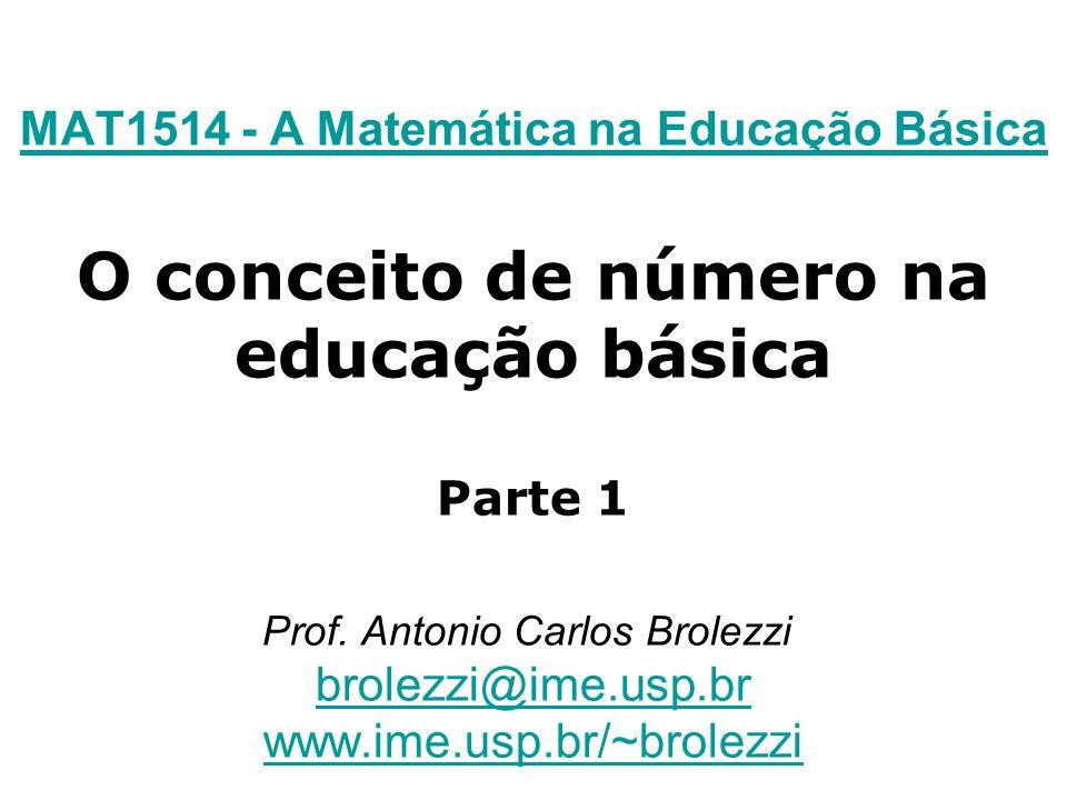 MAT1514 - A Matemática na Educação Básica MAT1514 - A Matemática na Educação Básica O conceito de número na educação básica Parte 1 Prof. Antonio Carl