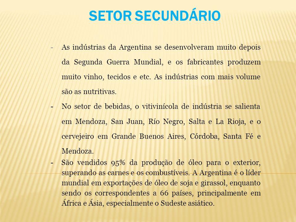 -As indústrias da Argentina se desenvolveram muito depois da Segunda Guerra Mundial, e os fabricantes produzem muito vinho, tecidos e etc. As indústri