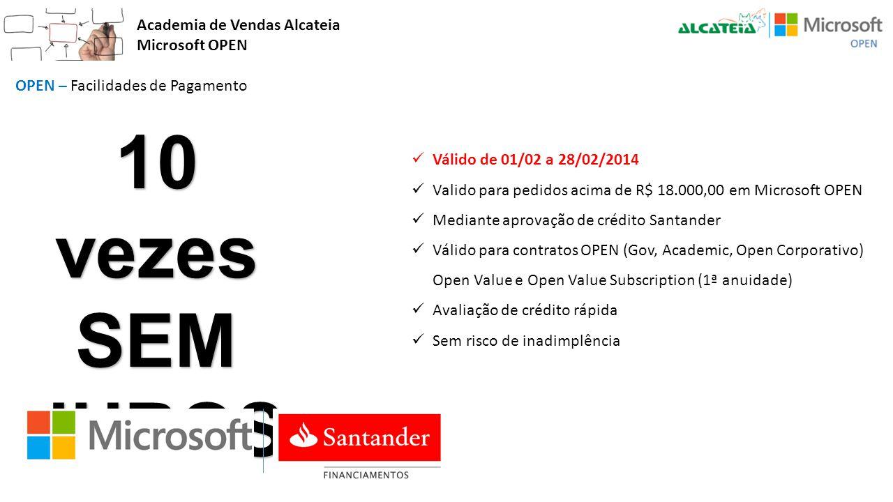 Academia de Vendas Alcateia Microsoft OPEN OPEN – Facilidades de Pagamento 10 vezes SEMJUROS Válido de 01/02 a 28/02/2014 Valido para pedidos acima de