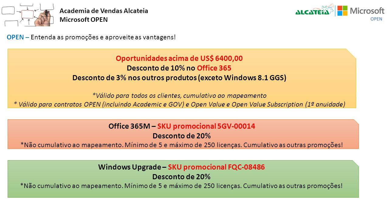 Academia de Vendas Alcateia Microsoft OPEN OPEN – Entenda as promoções e aproveite as vantagens! Oportunidades acima de US$ 6400,00 Desconto de 10% no