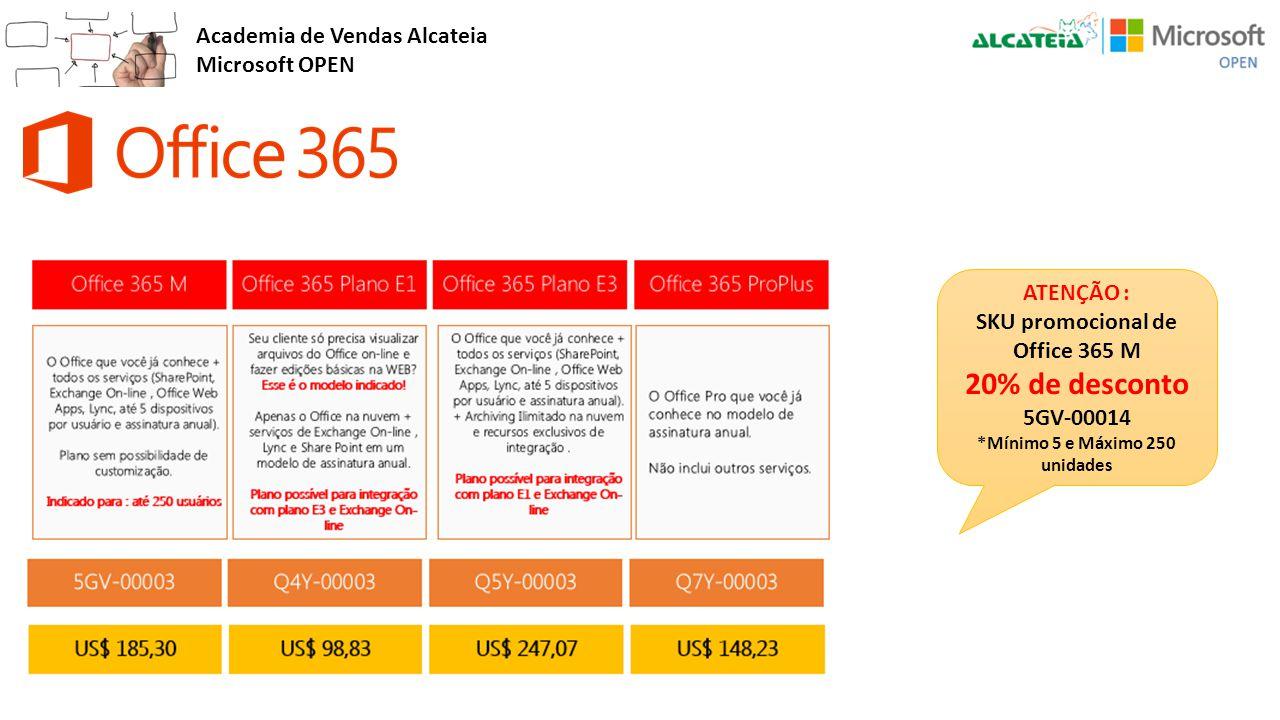 Academia de Vendas Alcateia Microsoft OPEN ATENÇÃO : SKU promocional de Office 365 M 20% de desconto 5GV-00014 *Mínimo 5 e Máximo 250 unidades