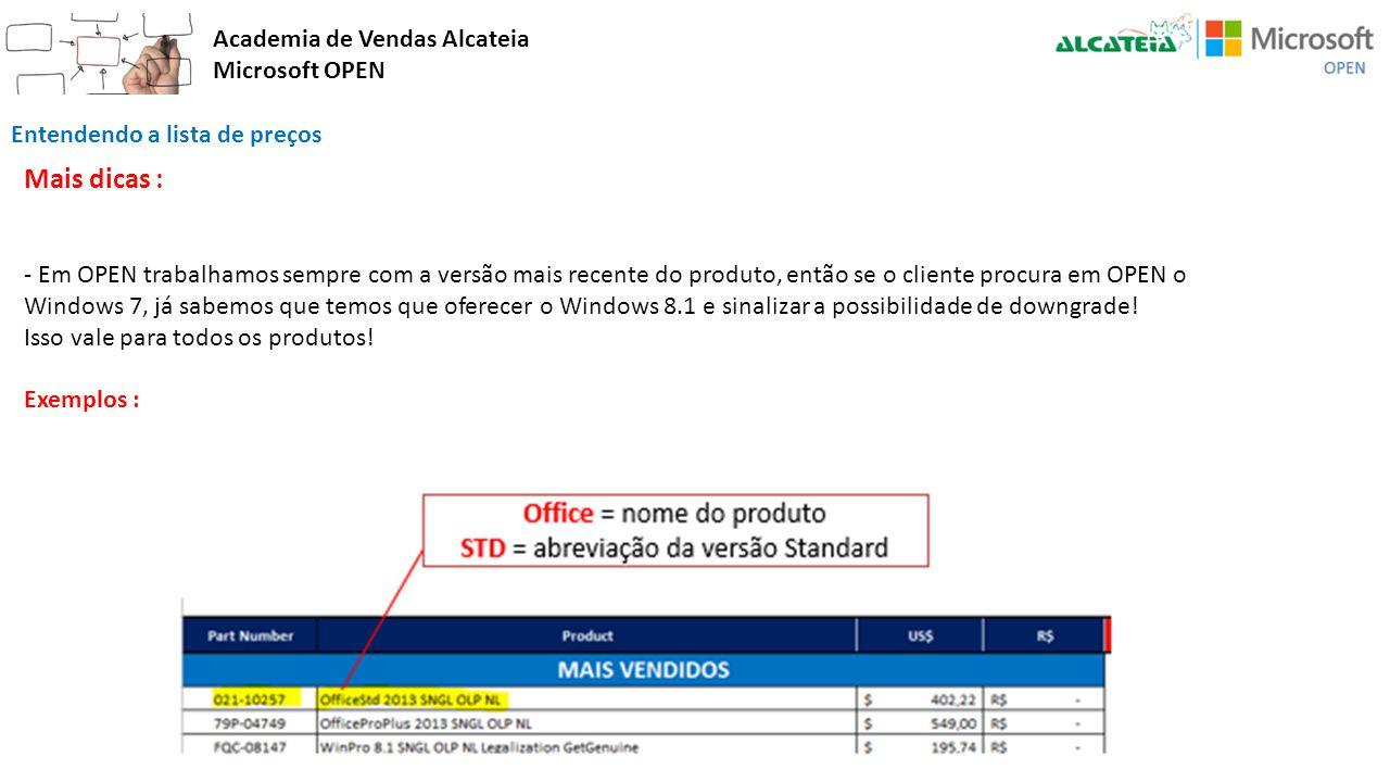 Academia de Vendas Alcateia Microsoft OPEN Entendendo a lista de preços Mais dicas : - Em OPEN trabalhamos sempre com a versão mais recente do produto