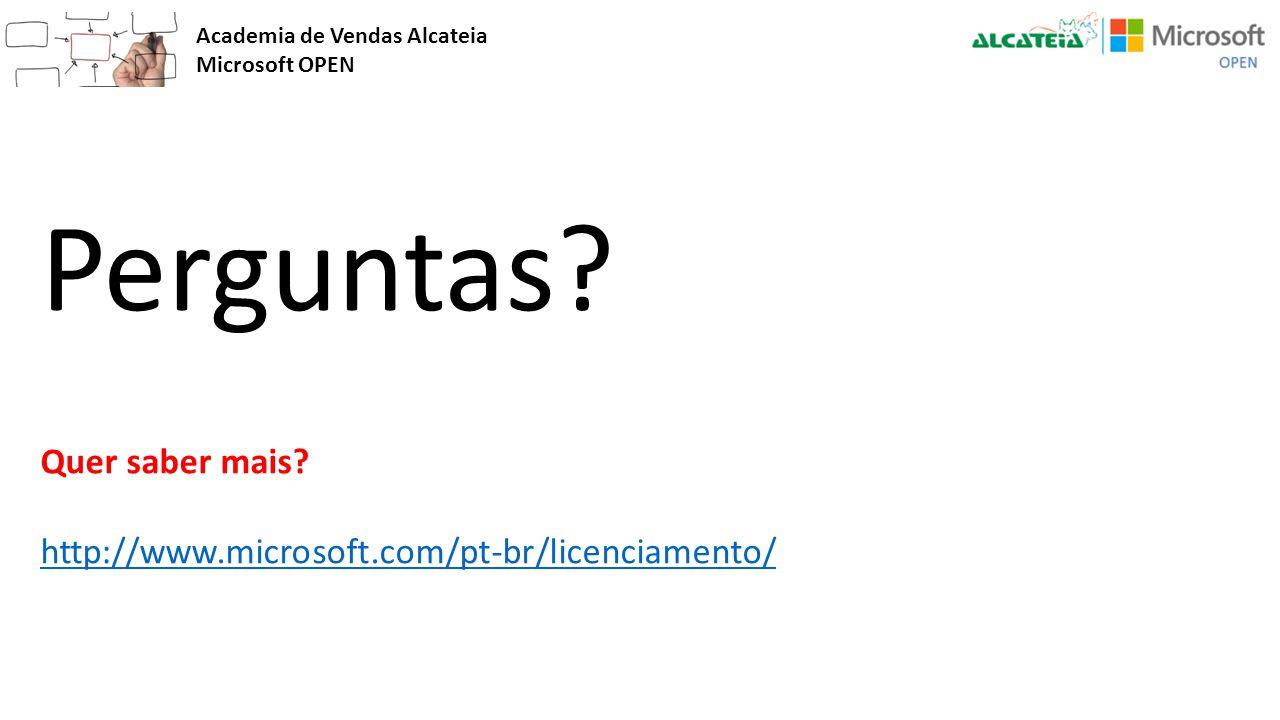 Academia de Vendas Alcateia Microsoft OPEN Perguntas? Quer saber mais? http://www.microsoft.com/pt-br/licenciamento/ http://www.microsoft.com/pt-br/li