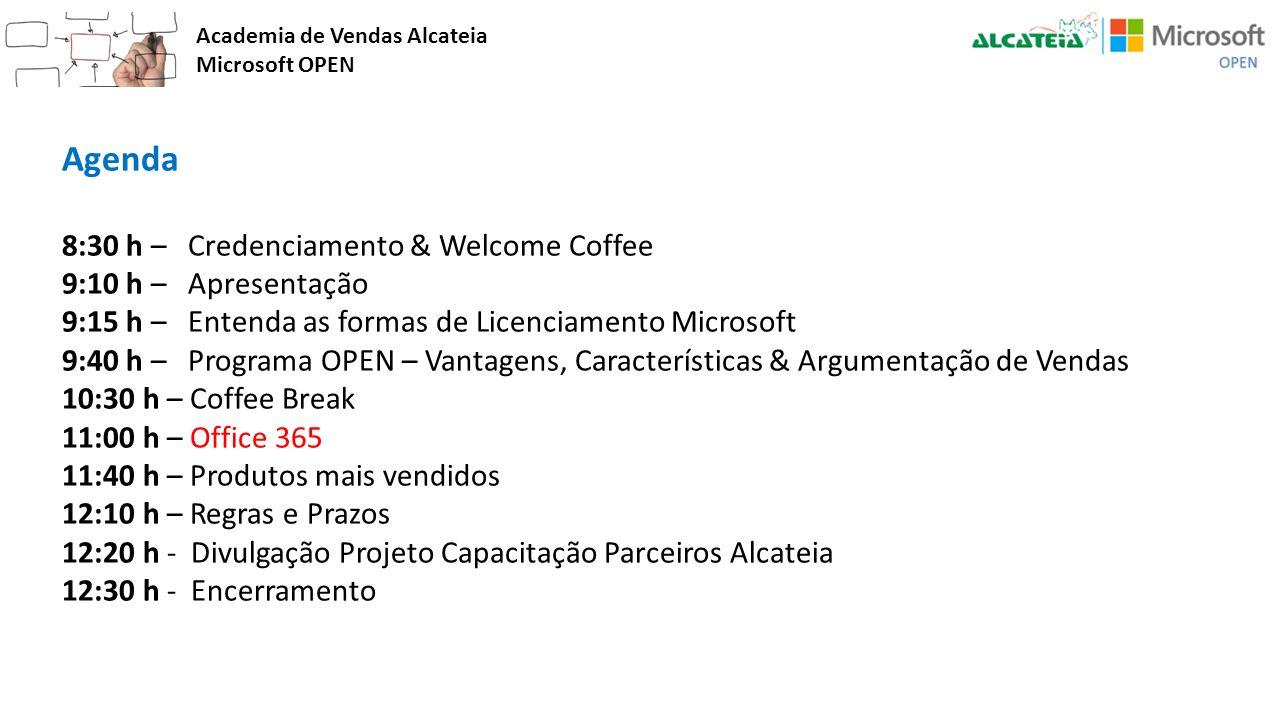 Academia de Vendas Alcateia Microsoft OPEN Agenda 8:30 h – Credenciamento & Welcome Coffee 9:10 h – Apresentação 9:15 h – Entenda as formas de Licenci