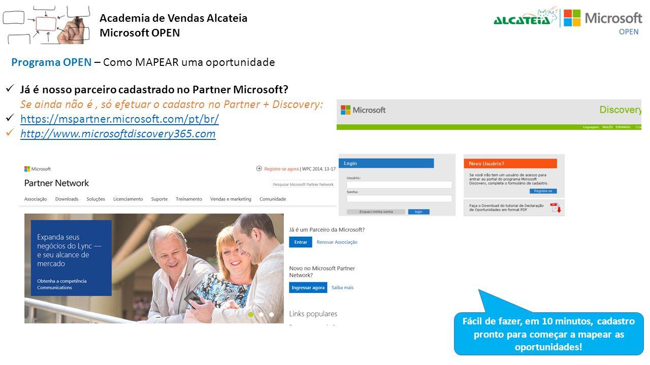 Academia de Vendas Alcateia Microsoft OPEN Programa OPEN – Como MAPEAR uma oportunidade Já é nosso parceiro cadastrado no Partner Microsoft? Se ainda