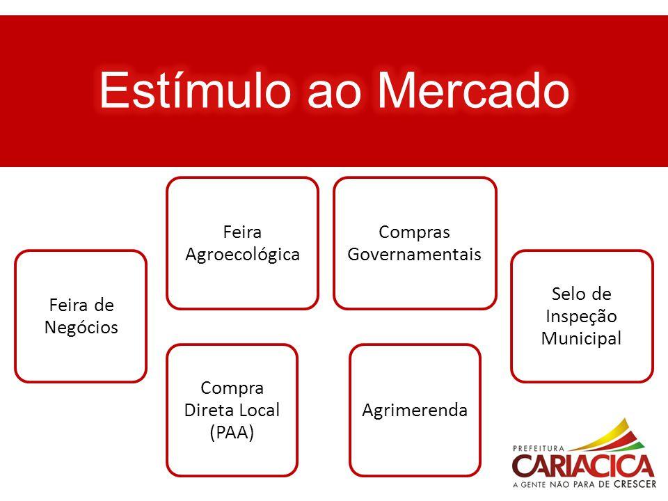 Feira de Negócios Compras Governamentais Compra Direta Local (PAA) Agrimerenda Feira Agroecológica Selo de Inspeção Municipal