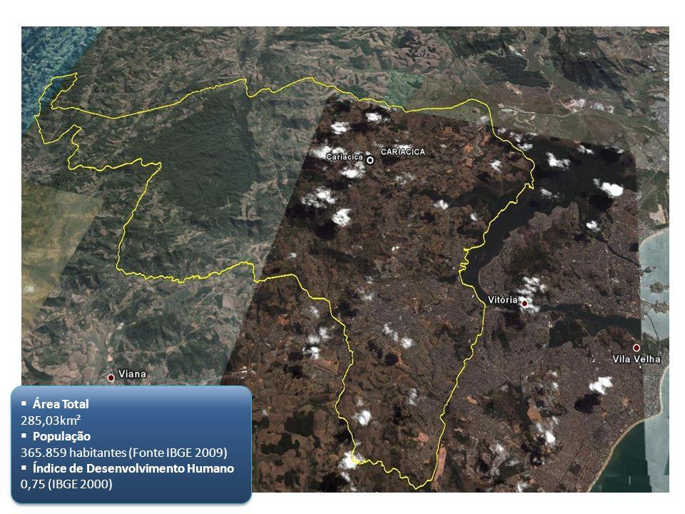 Área Total 285,03km² População 365.859 habitantes (Fonte IBGE 2009) Índice de Desenvolvimento Humano 0,75 (IBGE 2000) Área Total 285,03km² População 3