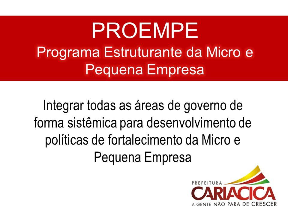 Integrar todas as áreas de governo de forma sistêmica para desenvolvimento de políticas de fortalecimento da Micro e Pequena Empresa