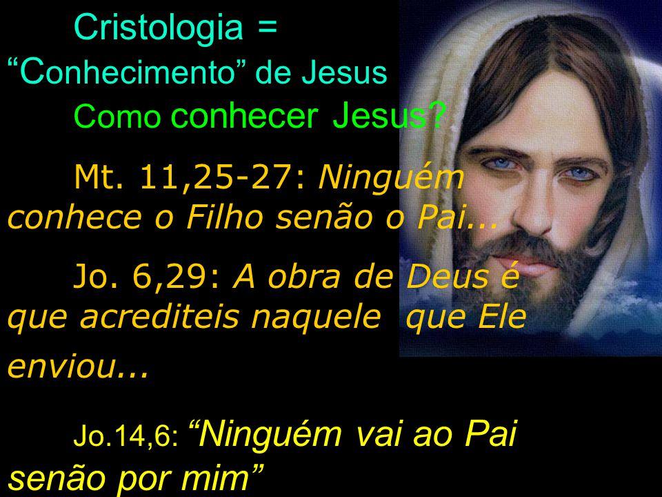 Cristologia = C onhecimento de Jesus Como conhecer Jesus? Mt. 11,25-27: Ninguém conhece o Filho senão o Pai... Jo. 6,29: A obra de Deus é que acredite