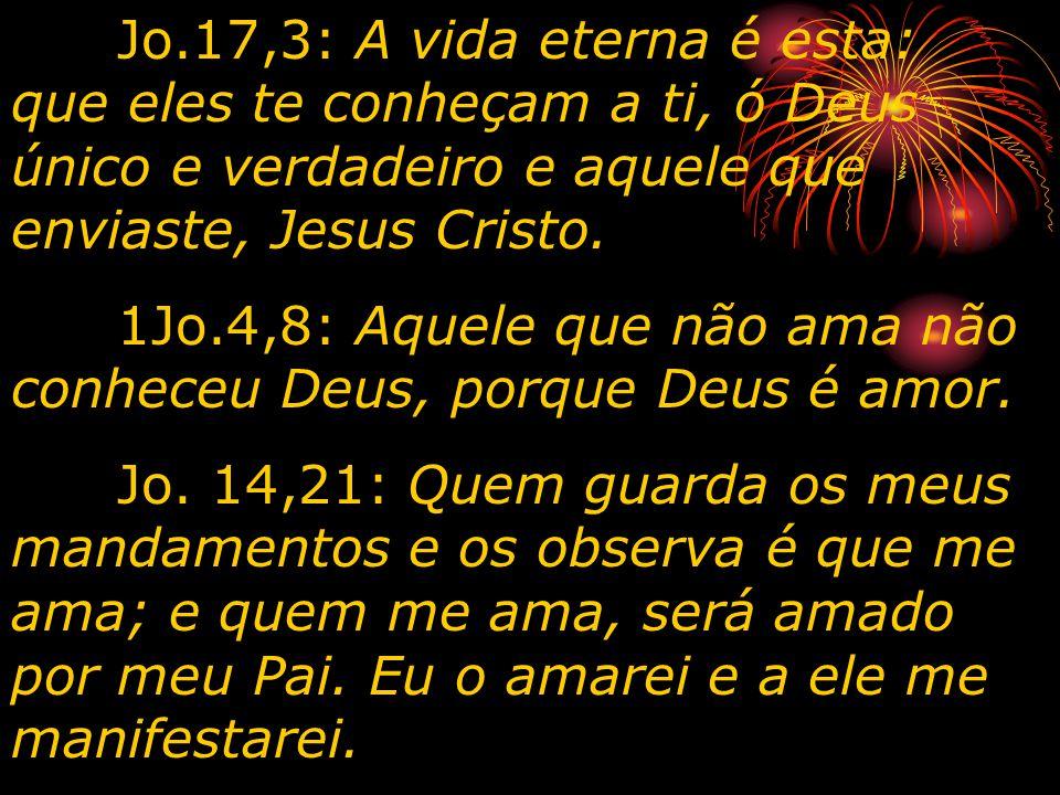 Jo.17,3: A vida eterna é esta: que eles te conheçam a ti, ó Deus único e verdadeiro e aquele que enviaste, Jesus Cristo. 1Jo.4,8: Aquele que não ama n