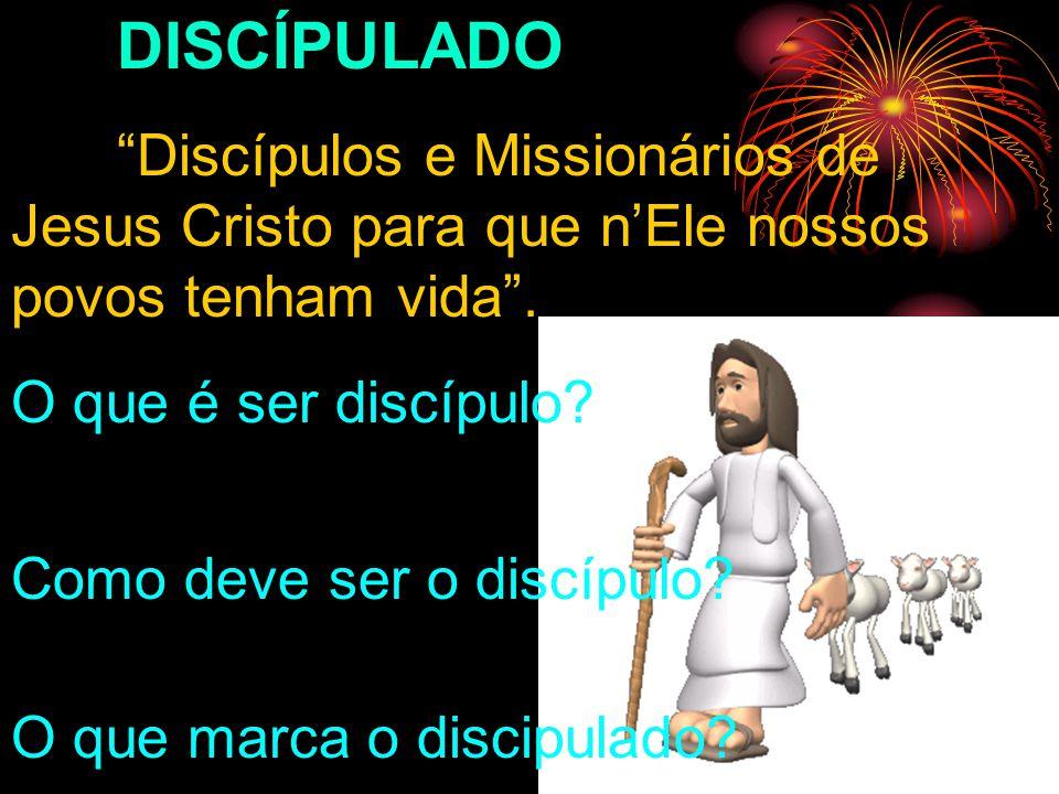 DISCÍPULADO Discípulos e Missionários de Jesus Cristo para que nEle nossos povos tenham vida. O que é ser discípulo? Como deve ser o discípulo? O que