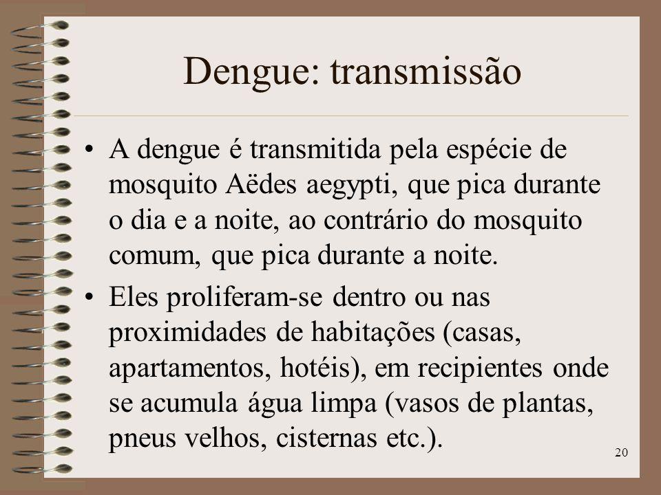 20 Dengue: transmissão A dengue é transmitida pela espécie de mosquito Aëdes aegypti, que pica durante o dia e a noite, ao contrário do mosquito comum, que pica durante a noite.