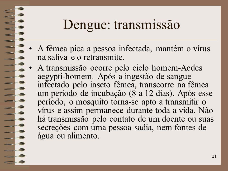 21 Dengue: transmissão A fêmea pica a pessoa infectada, mantém o vírus na saliva e o retransmite.