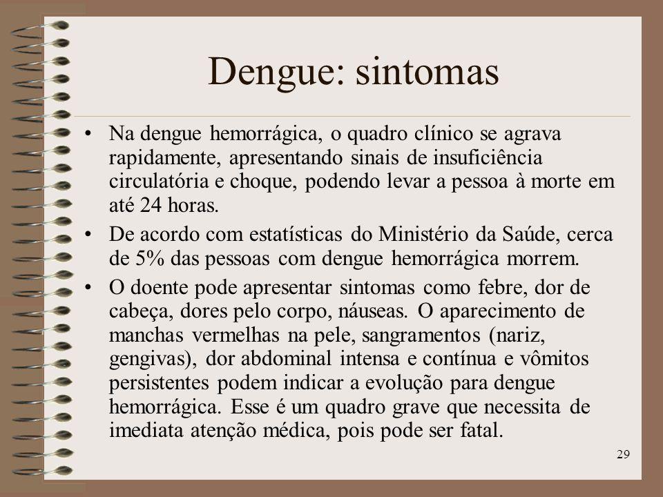 29 Na dengue hemorrágica, o quadro clínico se agrava rapidamente, apresentando sinais de insuficiência circulatória e choque, podendo levar a pessoa à morte em até 24 horas.