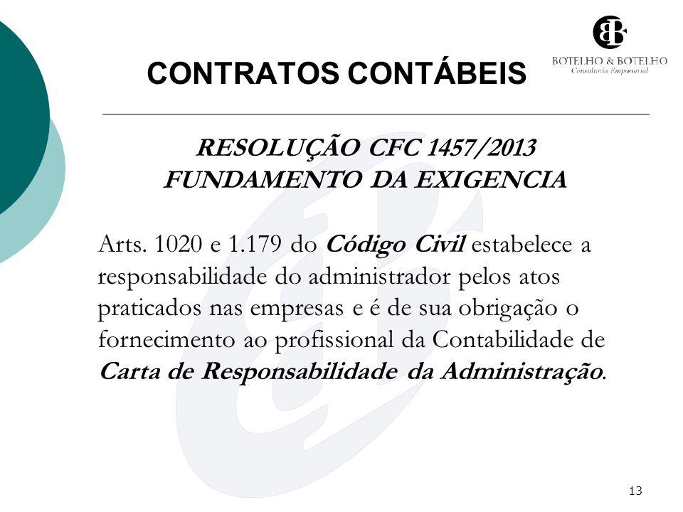 13 CONTRATOS CONTÁBEIS RESOLUÇÃO CFC 1457/2013 FUNDAMENTO DA EXIGENCIA Arts. 1020 e 1.179 do Código Civil estabelece a responsabilidade do administrad