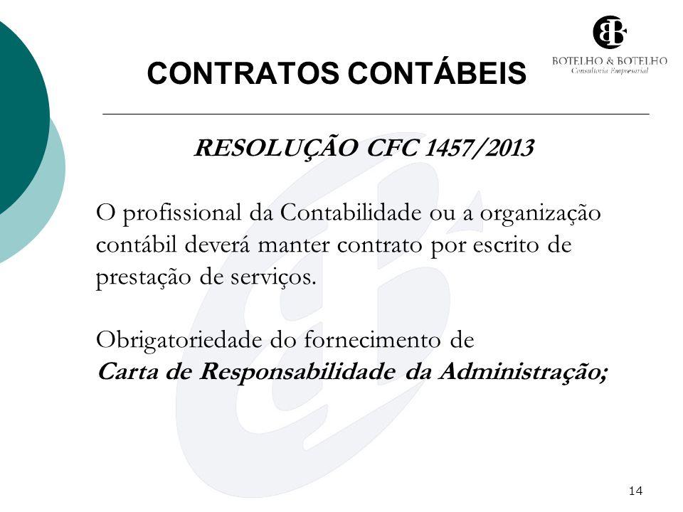 14 CONTRATOS CONTÁBEIS RESOLUÇÃO CFC 1457/2013 O profissional da Contabilidade ou a organização contábil deverá manter contrato por escrito de prestaç
