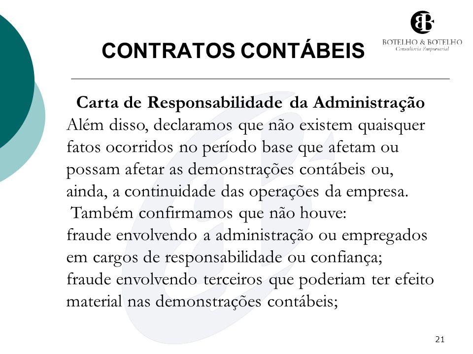 21 CONTRATOS CONTÁBEIS Carta de Responsabilidade da Administração Além disso, declaramos que não existem quaisquer fatos ocorridos no período base que