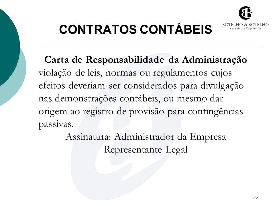 22 CONTRATOS CONTÁBEIS Carta de Responsabilidade da Administração violação de leis, normas ou regulamentos cujos efeitos deveriam ser considerados par