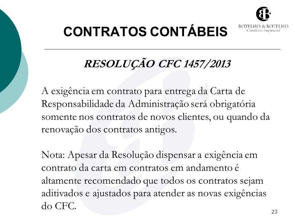 23 CONTRATOS CONTÁBEIS RESOLUÇÃO CFC 1457/2013 A exigência em contrato para entrega da Carta de Responsabilidade da Administração será obrigatória som
