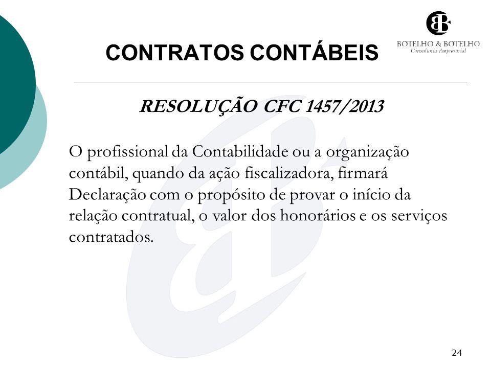24 CONTRATOS CONTÁBEIS RESOLUÇÃO CFC 1457/2013 O profissional da Contabilidade ou a organização contábil, quando da ação fiscalizadora, firmará Declar