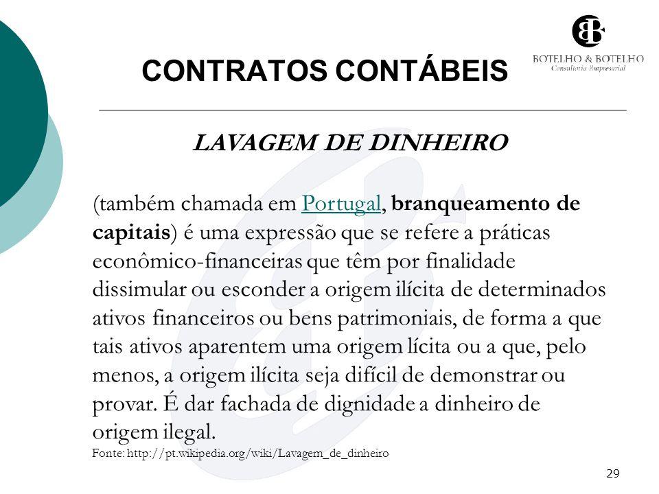 29 CONTRATOS CONTÁBEIS LAVAGEM DE DINHEIRO (também chamada em Portugal, branqueamento de capitais) é uma expressão que se refere a práticas econômico-