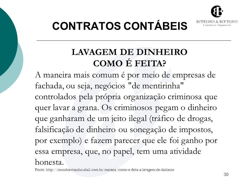 30 CONTRATOS CONTÁBEIS LAVAGEM DE DINHEIRO COMO É FEITA? A maneira mais comum é por meio de empresas de fachada, ou seja, negócios