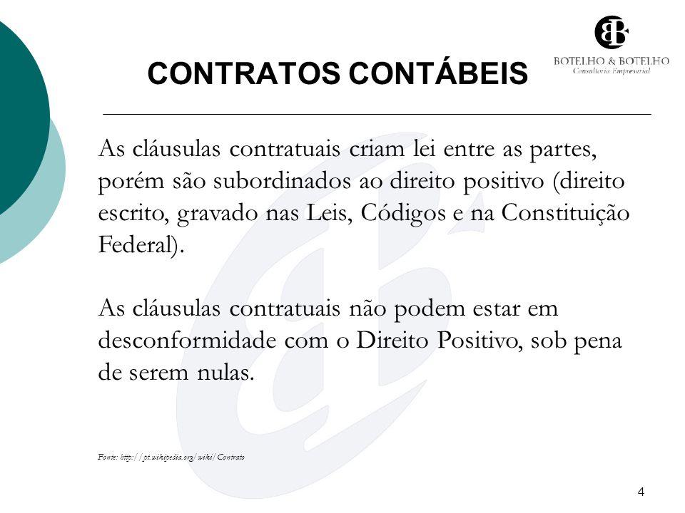 4 CONTRATOS CONTÁBEIS As cláusulas contratuais criam lei entre as partes, porém são subordinados ao direito positivo (direito escrito, gravado nas Lei