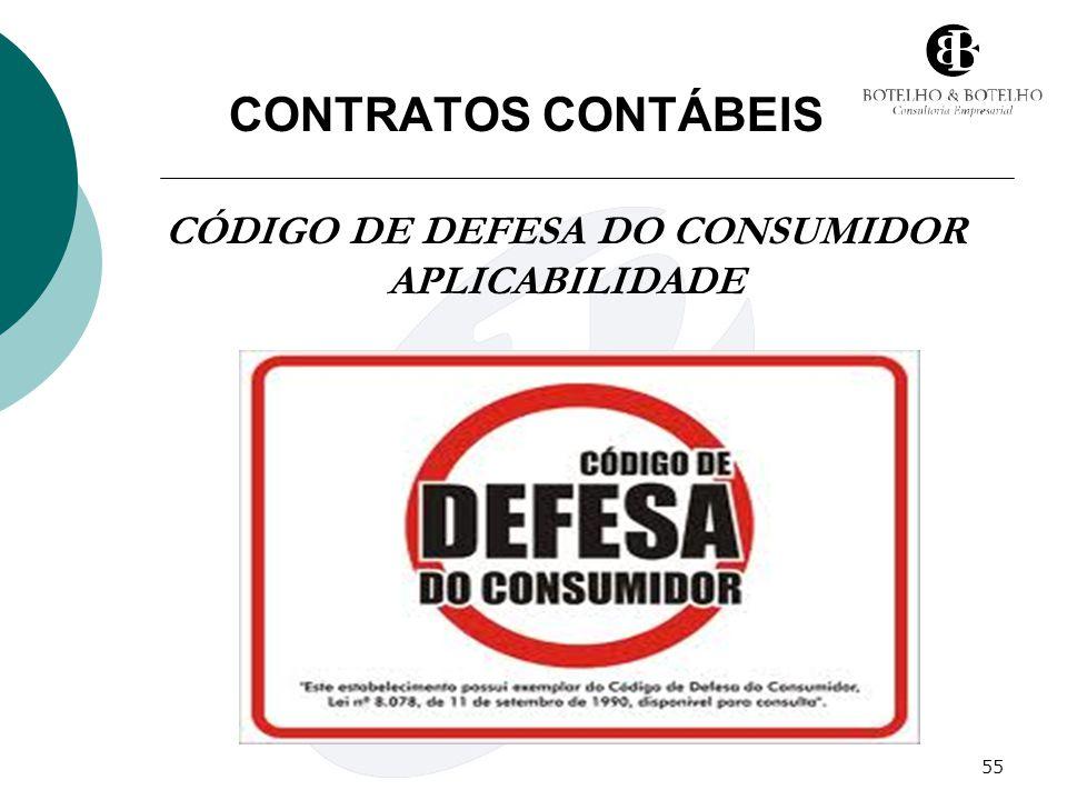 55 CONTRATOS CONTÁBEIS CÓDIGO DE DEFESA DO CONSUMIDOR APLICABILIDADE