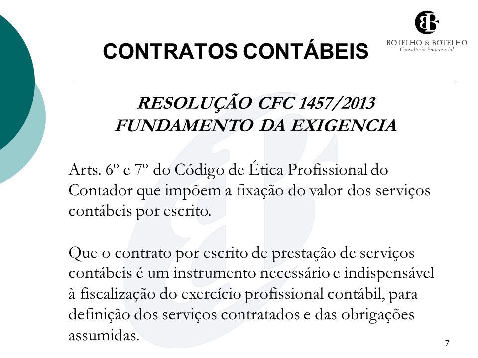 7 CONTRATOS CONTÁBEIS RESOLUÇÃO CFC 1457/2013 FUNDAMENTO DA EXIGENCIA Arts. 6º e 7º do Código de Ética Profissional do Contador que impõem a fixação d