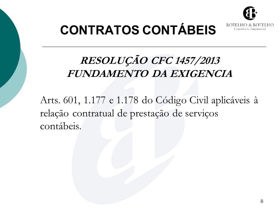 8 CONTRATOS CONTÁBEIS RESOLUÇÃO CFC 1457/2013 FUNDAMENTO DA EXIGENCIA Arts. 601, 1.177 e 1.178 do Código Civil aplicáveis à relação contratual de pres