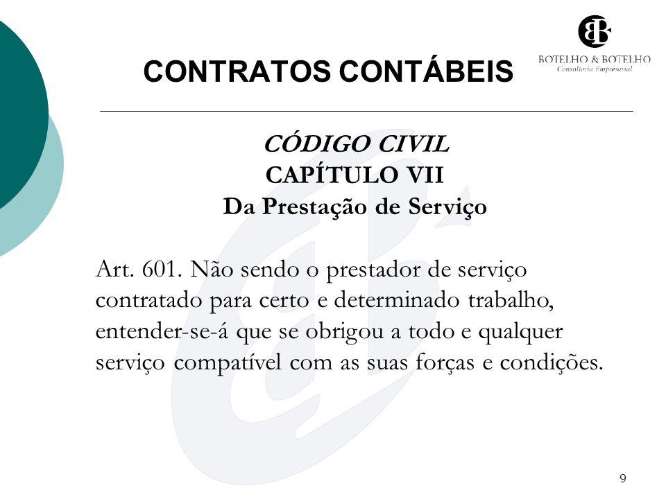 9 CONTRATOS CONTÁBEIS CÓDIGO CIVIL CAPÍTULO VII Da Prestação de Serviço Art. 601. Não sendo o prestador de serviço contratado para certo e determinado