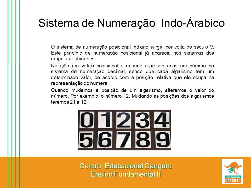 Sistema de Numeração Indo-Árabico O sistema de numeração posicional indiano surgiu por volta do século V. Este princípio de numeração posicional já ap