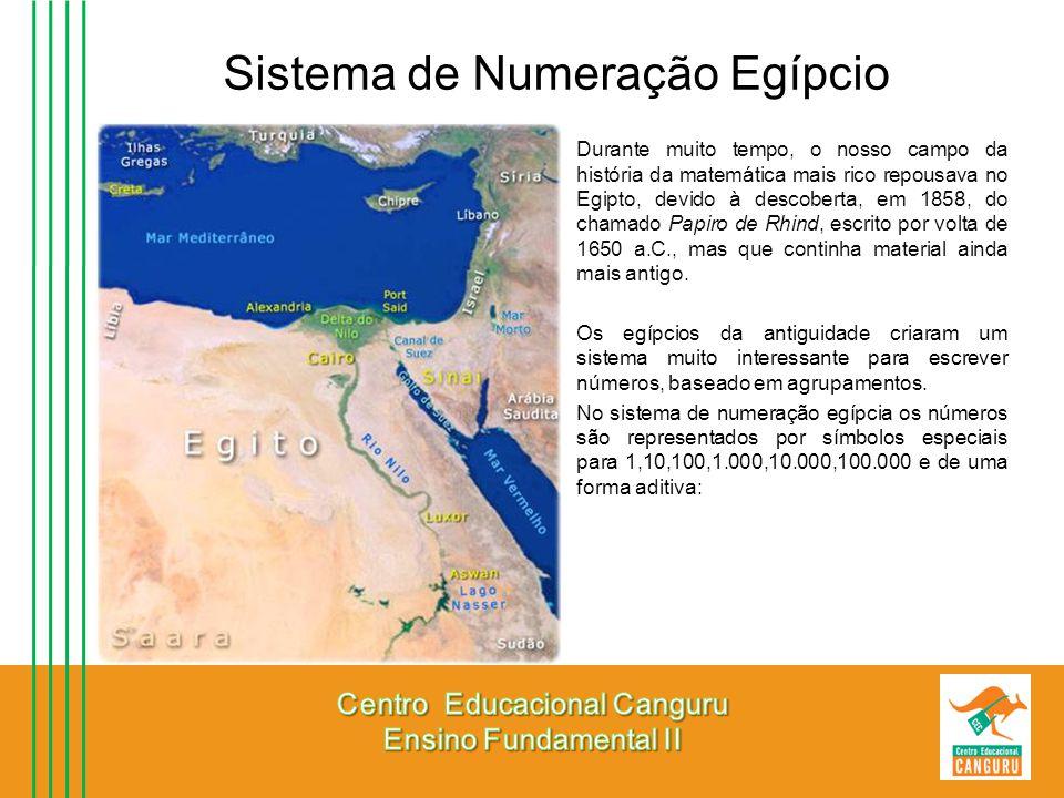 Sistema de Numeração Egípcio Durante muito tempo, o nosso campo da história da matemática mais rico repousava no Egipto, devido à descoberta, em 1858,