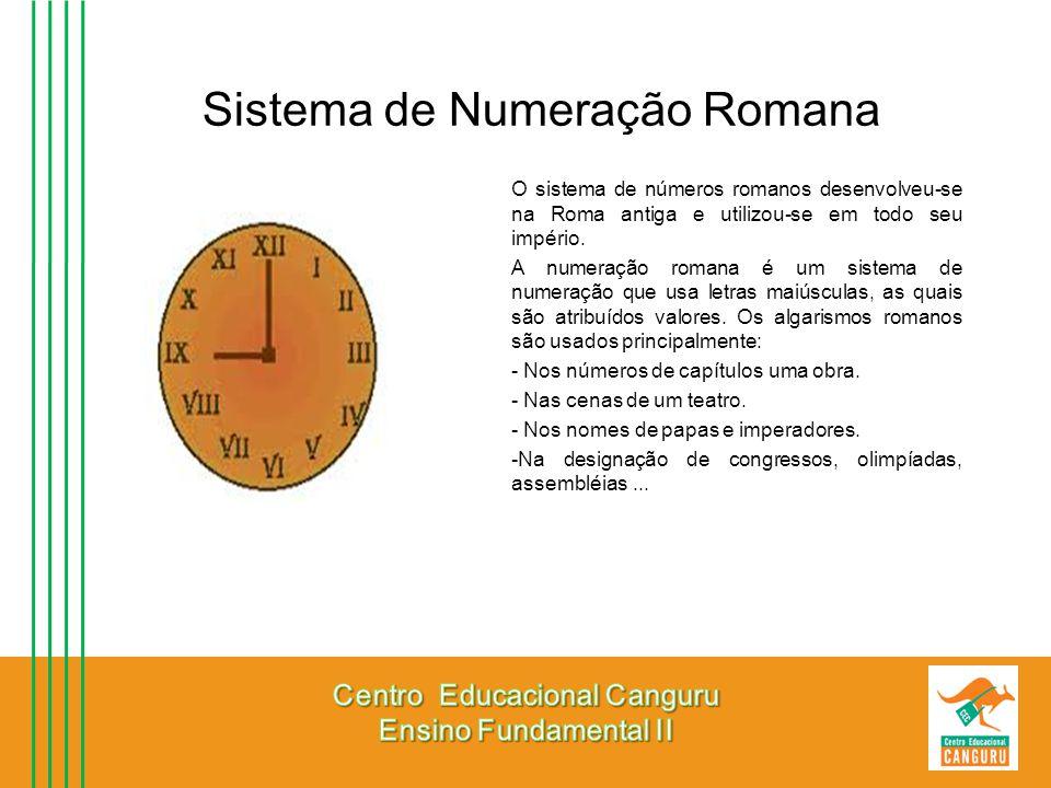 Sistema de Numeração Romana O sistema de números romanos desenvolveu-se na Roma antiga e utilizou-se em todo seu império. A numeração romana é um sist