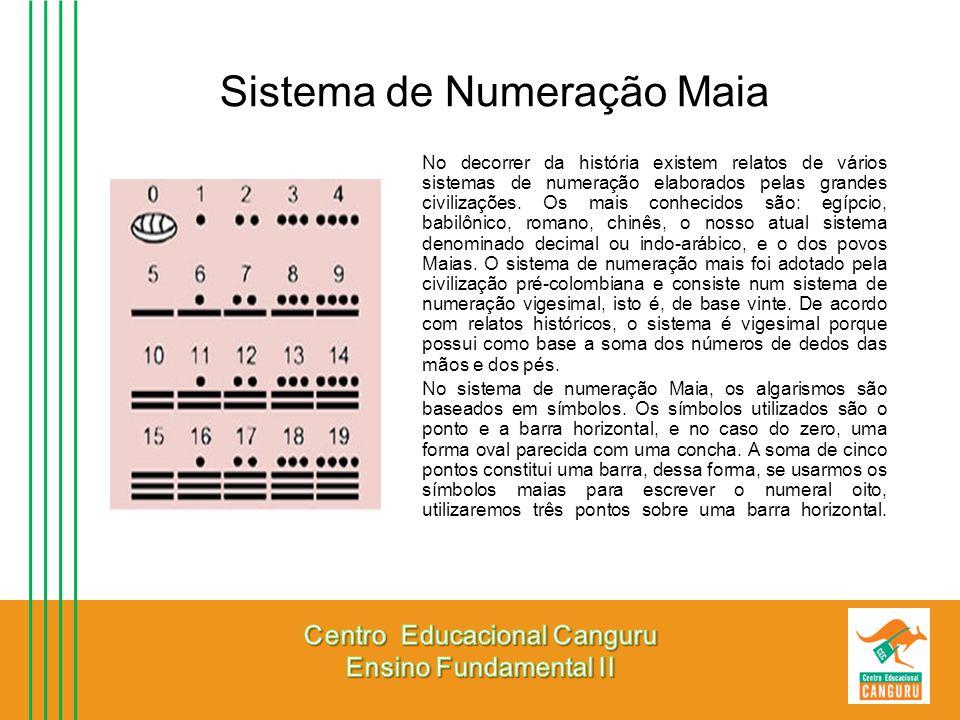 Sistema de Numeração Maia No decorrer da história existem relatos de vários sistemas de numeração elaborados pelas grandes civilizações. Os mais conhe