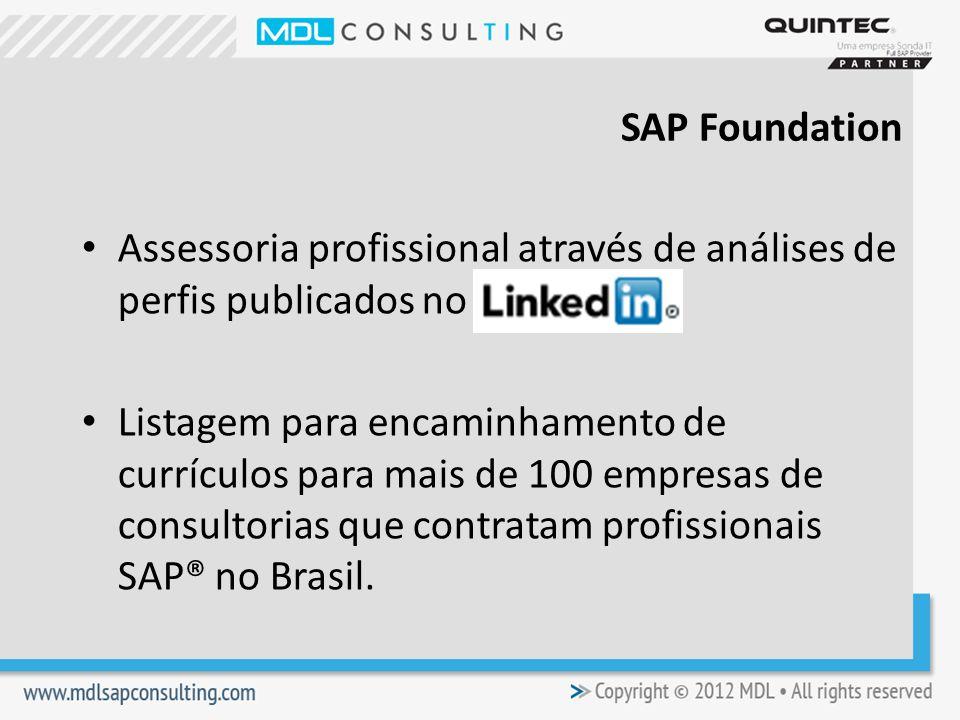 Assessoria profissional através de análises de perfis publicados no Listagem para encaminhamento de currículos para mais de 100 empresas de consultorias que contratam profissionais SAP® no Brasil.