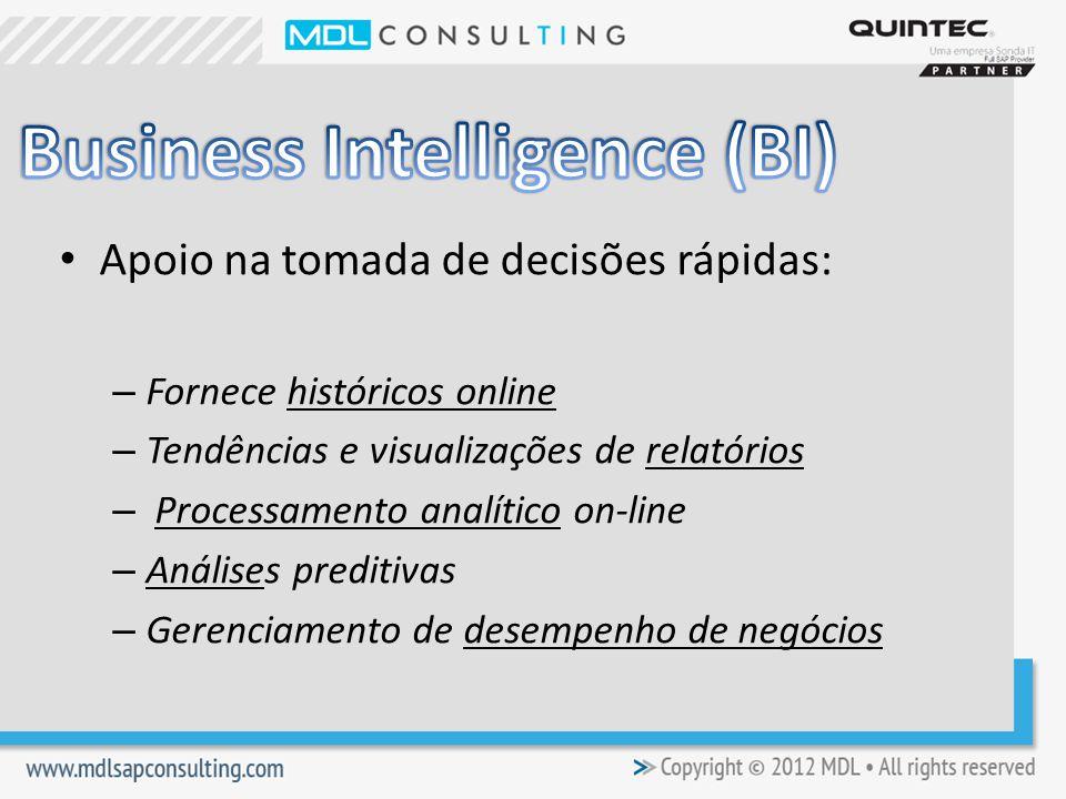 Apoio na tomada de decisões rápidas: – Fornece históricos online – Tendências e visualizações de relatórios – Processamento analítico on-line – Análises preditivas – Gerenciamento de desempenho de negócios