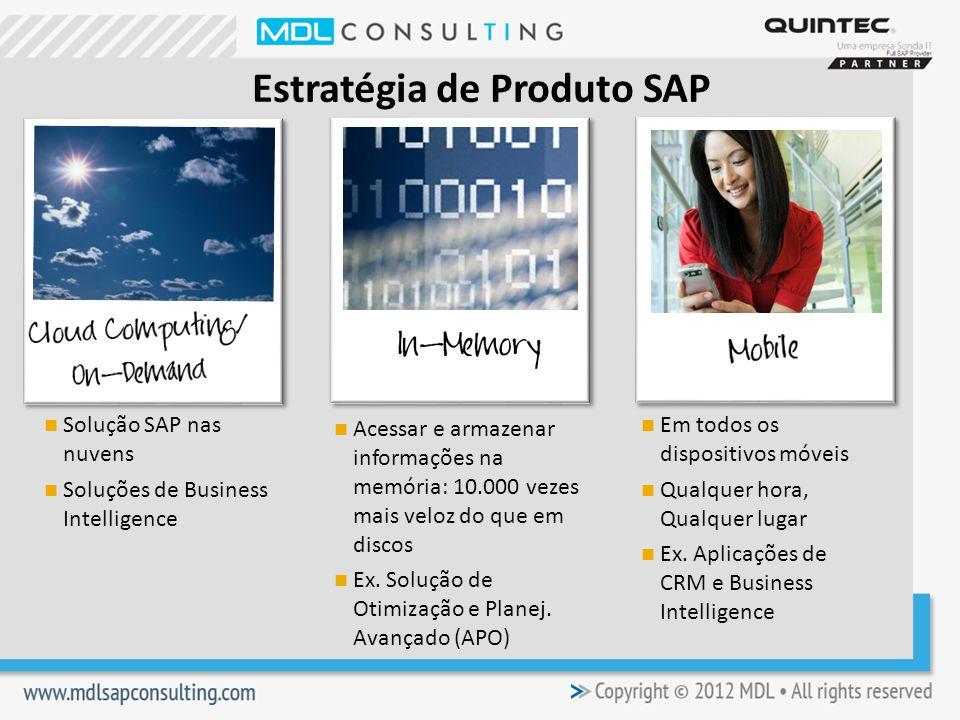 Estratégia de Produto SAP Solução SAP nas nuvens Soluções de Business Intelligence Acessar e armazenar informações na memória: 10.000 vezes mais veloz do que em discos Ex.