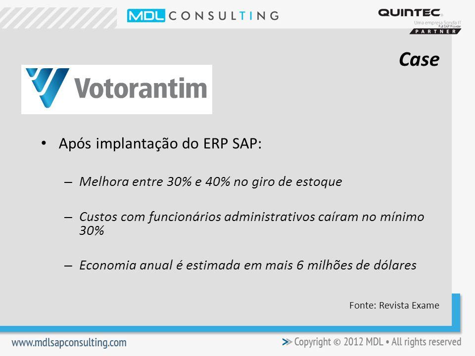 Após implantação do ERP SAP: – Melhora entre 30% e 40% no giro de estoque – Custos com funcionários administrativos caíram no mínimo 30% – Economia anual é estimada em mais 6 milhões de dólares Fonte: Revista Exame Case