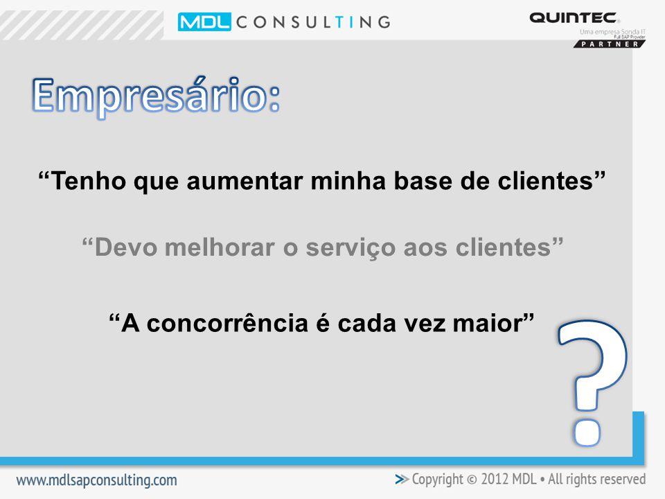 Tenho que aumentar minha base de clientes Devo melhorar o serviço aos clientes A concorrência é cada vez maior