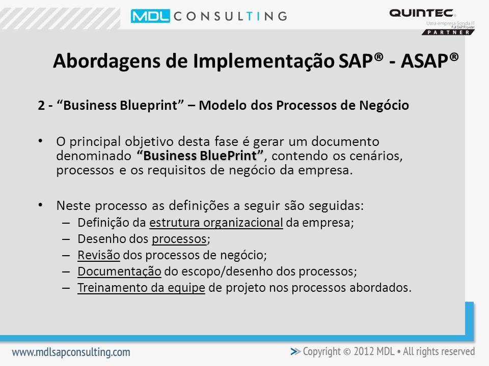 2 - Business Blueprint – Modelo dos Processos de Negócio Business BluePrint O principal objetivo desta fase é gerar um documento denominado Business BluePrint, contendo os cenários, processos e os requisitos de negócio da empresa.