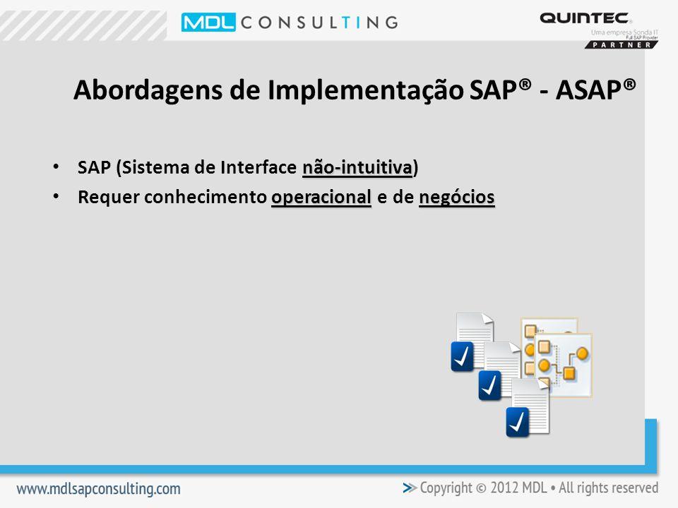 não-intuitiva SAP (Sistema de Interface não-intuitiva) operacionalnegócios Requer conhecimento operacional e de negócios Abordagens de Implementação SAP® - ASAP®