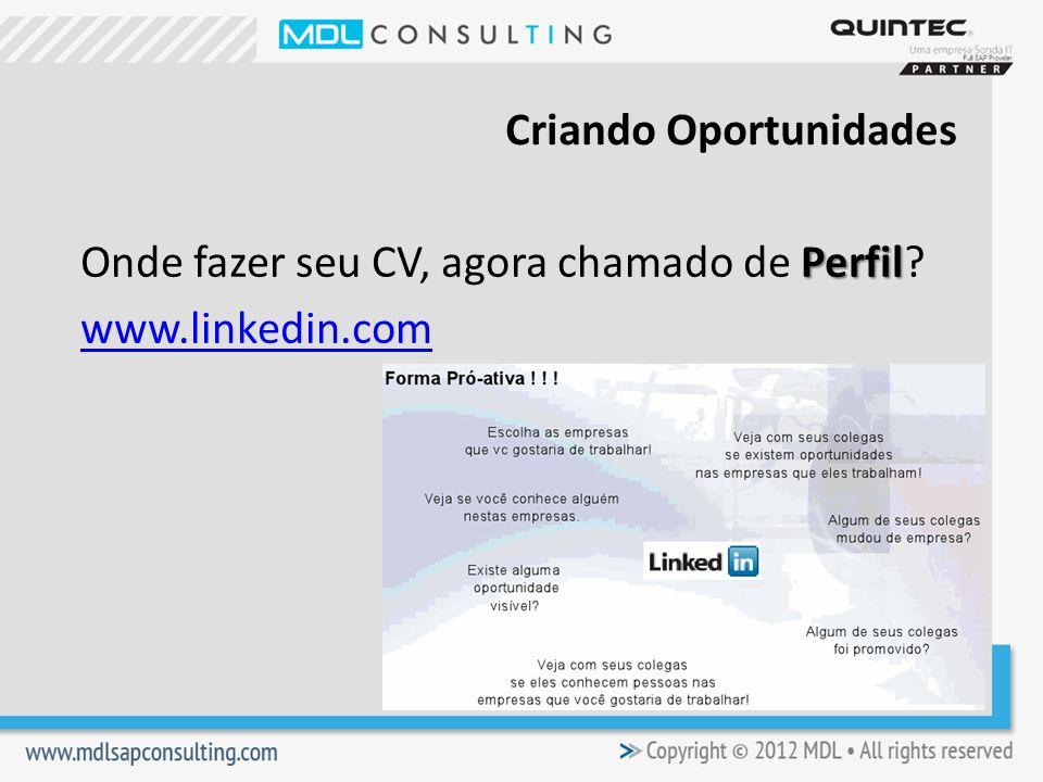 Perfil Onde fazer seu CV, agora chamado de Perfil? www.linkedin.com Criando Oportunidades
