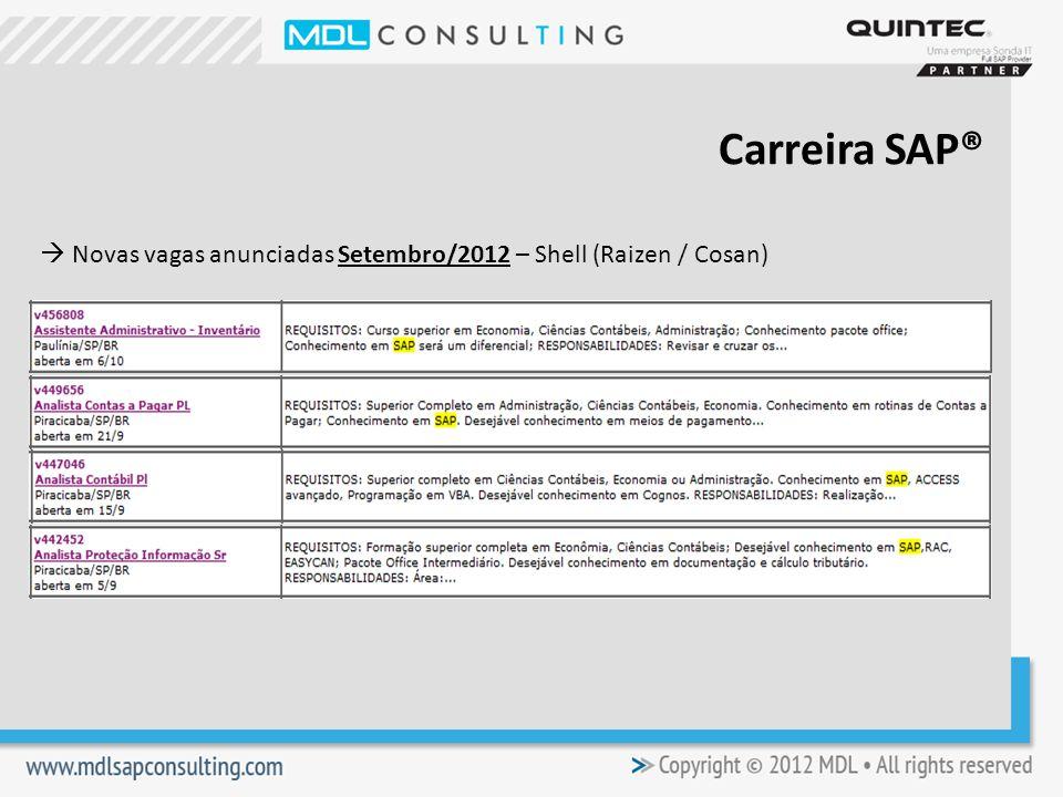 Novas vagas anunciadas Setembro/2012 – Shell (Raizen / Cosan) Carreira SAP®