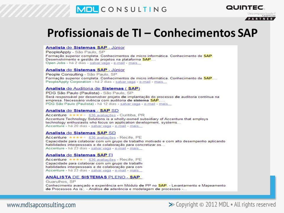 Profissionais de TI – Conhecimentos SAP