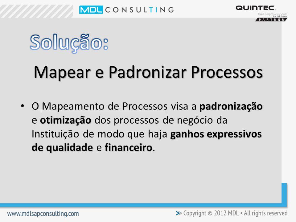 Mapear e Padronizar Processos padronização otimização ganhos expressivos de qualidadefinanceiro O Mapeamento de Processos visa a padronização e otimização dos processos de negócio da Instituição de modo que haja ganhos expressivos de qualidade e financeiro.