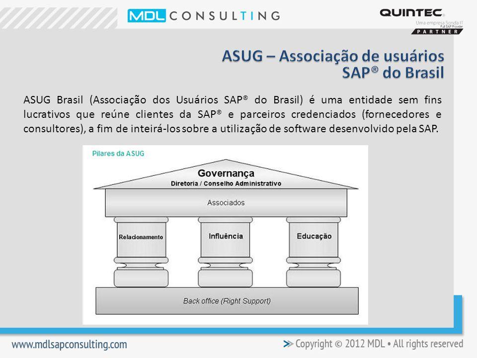 ASUG Brasil (Associação dos Usuários SAP® do Brasil) é uma entidade sem fins lucrativos que reúne clientes da SAP® e parceiros credenciados (fornecedores e consultores), a fim de inteirá-los sobre a utilização de software desenvolvido pela SAP.