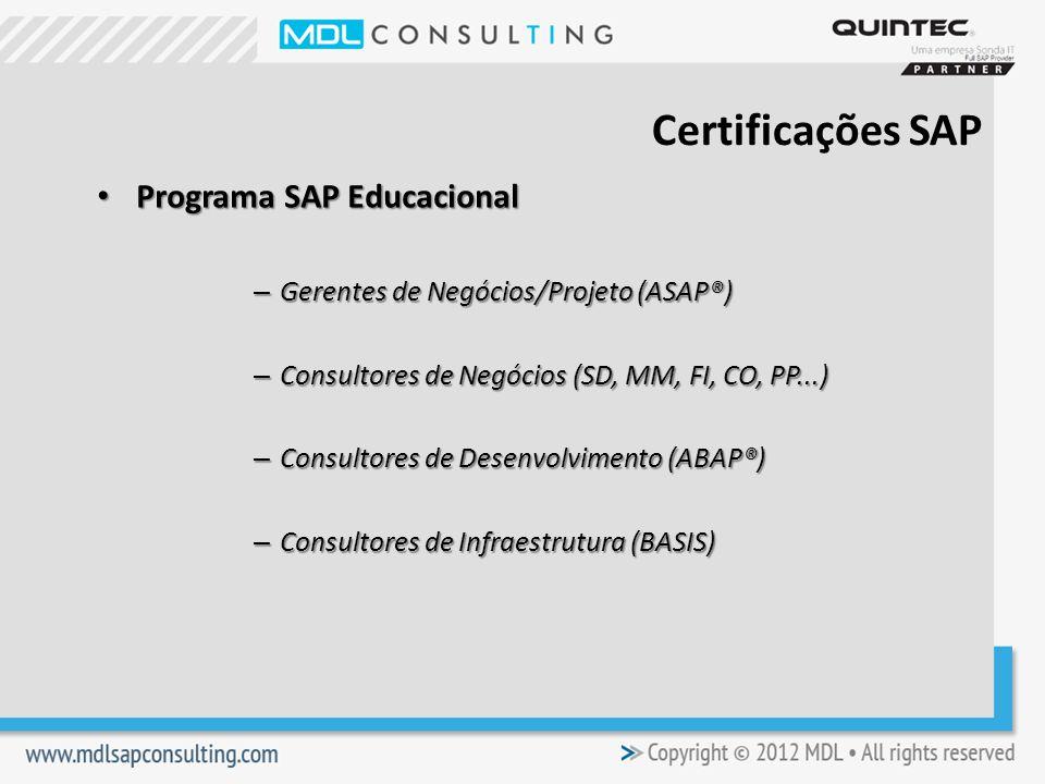Programa SAP Educacional Programa SAP Educacional – Gerentes de Negócios/Projeto (ASAP®) – Consultores de Negócios (SD, MM, FI, CO, PP...) – Consultores de Desenvolvimento (ABAP®) – Consultores de Infraestrutura (BASIS) Certificações SAP