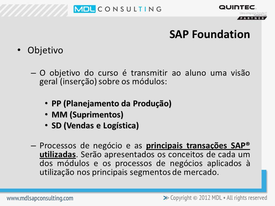 Objetivo – O objetivo do curso é transmitir ao aluno uma visão geral (inserção) sobre os módulos: PP (Planejamento da Produção) PP (Planejamento da Produção) MM (Suprimentos) MM (Suprimentos) SD (Vendas e Logística) SD (Vendas e Logística) – Processos de negócio e as principais transações SAP® utilizadas.