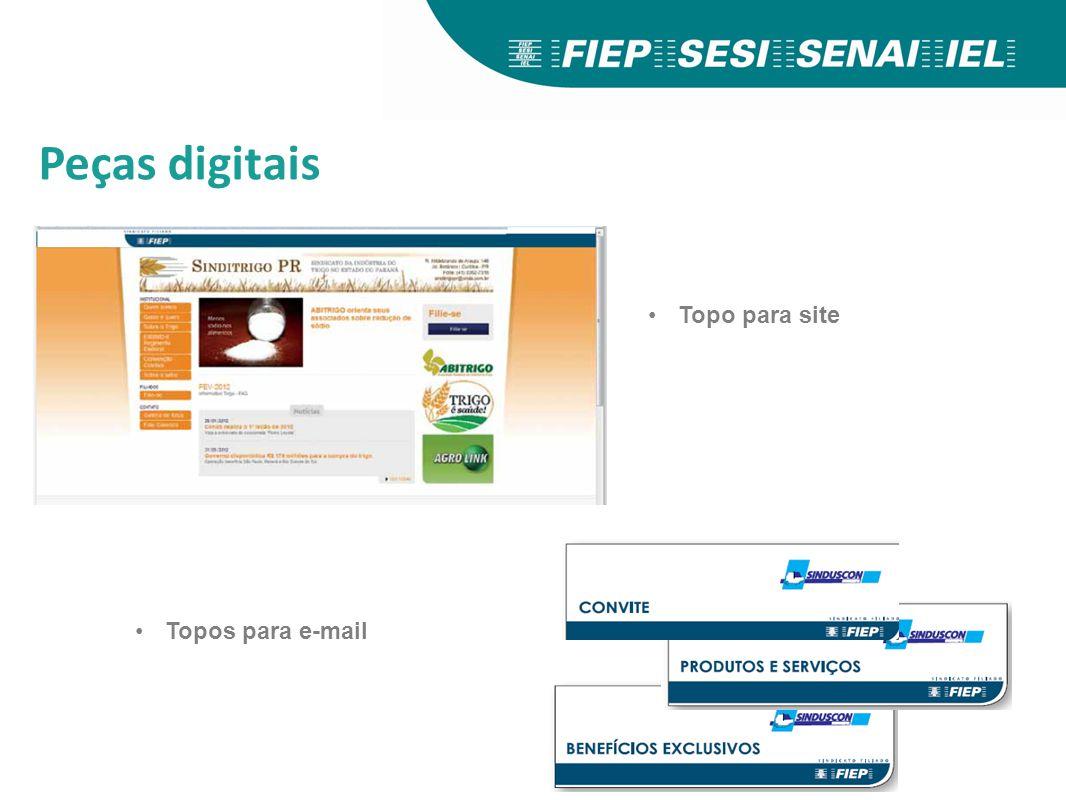Peças digitais Topo para site Topos para e-mail